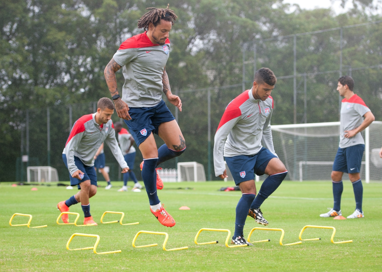 United States defenders Jermaine Jones (left) and DeAndre Yedlin go through warm-ups Sao Paulo FC's training ground in Sao Paulo, Brazil on June 10, 2014.